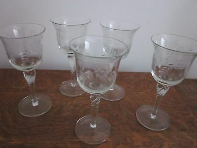 Vintage Cut Glass Etched Wine Glasses X 5