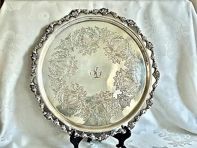 Fabulous Vintage Silver Plated Art Nouveau  Footed Serving Tray Strachan C 1960'