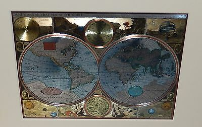 A New And Accvrat Silver & Gold Foil Small Map Of The World
