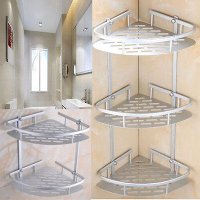AU 2/3 Layer Triangular Shower Caddy Shelf Bathroom Corner Rack Storage Basket