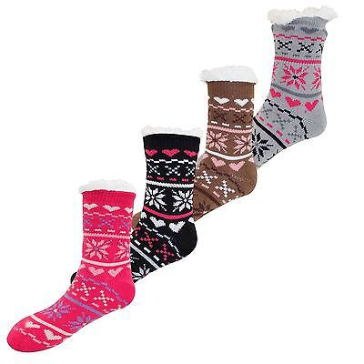 New Ladies Extreme Heat insulated Sherpa Line Winter Heavy 4.7 Tog Thermal Socks