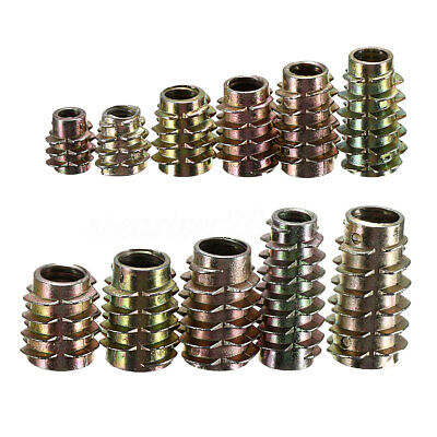 10Pcs M4 M5 M6 M8 Type E Hex Drive Screw In Threaded Insert Bushings For Wood