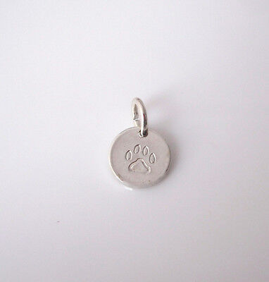 Solid sterling silver DOG CAT PAW PRINT stamped small disc coin charm pendant