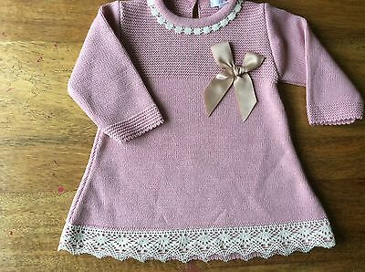 Free P&p Rose Pink Antique Lace Knitted Dress 0/3,3/6, 6/9 Months Spanish Style