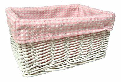 WHITE WICKER BASKET Nursery Storage Box Gift Hamper & PINK GINGHAM Cotton Lining
