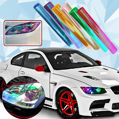 "Car Motorbike Vinyl Film Tint 12""x39"" Headlight Taillight Fog Wrap Cover Sticker"