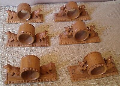 Black Forest Dog Napkin Rings x 6 Terriers / Spaniels