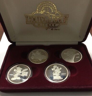 Vintage Mickey Mouse Disney 4 Coin (1) Troy Oz .999 Silver Each Proof Set! MIC4C