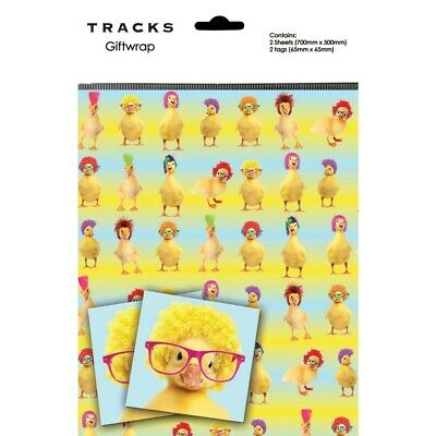 Gift Wrap Present Wrapping Paper Cute Funny Ducks Afros With Matching Tags