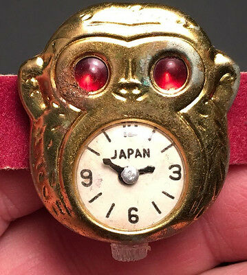 Unusual 1950's Made In Japan Figural Monkey Head Tin Toy Watch!