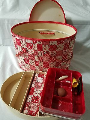 Antique Vintage Sewing Box with tray, Red Plaid.