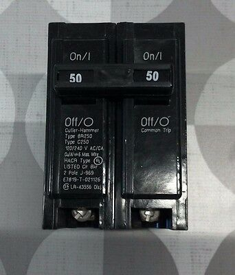 **NEW* CUTLER-HAMMER (BR250) Type:BR, 50A  2P 120/240V~  PLUG-ON CIRCUIT BREAKER