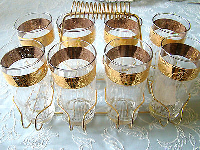 Liquor Drinking Glasses 8 & Carrier Gold Frosted Mid Century Cocktail Barware @9