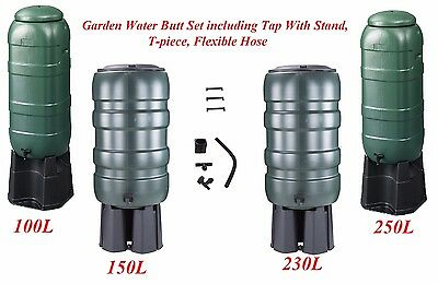 Garden Water Butt Set including Tap With Stand,T-piece, Flexible Hose 100-250Ltr
