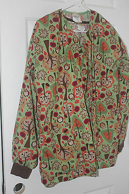 Fall Owls & Leaves Warm Up Jacket & Top Medium Tafford Women's Scrubs