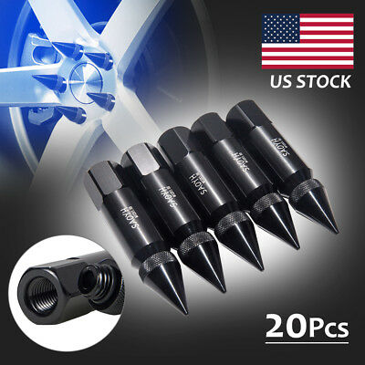 BLACK 20PCS CNC M12X1.5 60mm Aluminum Spike Tuner Extended Lug Nuts Wheels Rims