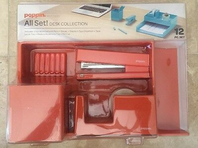 Poppin All Set Desk Collection Set Orange NIB