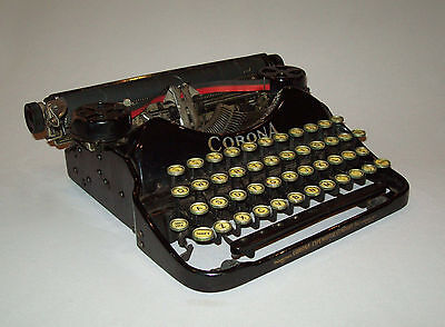 Scarce old antique vtg ca 1920s Corona Four Portable Typewriter Manual W/ Case