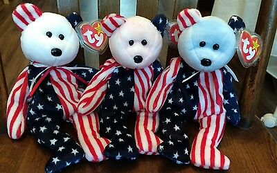 Ty beanie babies red white and blue faced spangle mint with tag protector. Rare