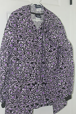 Purple Paisley Warm Up Jacket & Top Medium Tafford Women's Scrubs