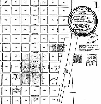 Durant, Oklahoma~Sanborn Map© sheets~ 12 maps on CD~1894 to 1901