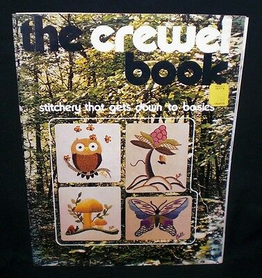 Vtg THE CREWEL BOOK Embroidery Pattern & Instructions Book Owl Mushroom Jacobean