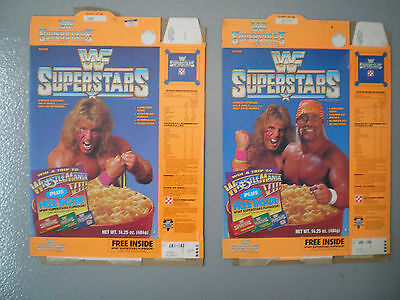 2 WWF Superstars Ralston Cereal Boxes 1991 Hulk Hogan Ultimate Warrior Complete