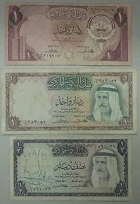 1968, 1970, +  KUWAIT 1/2, 1 Dinar Note Lot of 3 Old Currency Banknotes