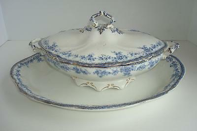 Vintage Flow Blue Platter And Matching Lidded Compote-Carland -England