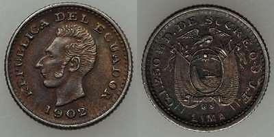 1902 Ecuador Small Silver Coin 1/2 Decimo Lima JF Mint Bust of Sucre Facing Left