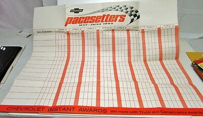 1969 Chevrolet PaceSetters Dealer Sales Awards Poster Pace Car Promotion Camaro