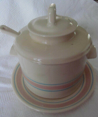 Vintage MCCOY Pottery 4pc Soup Tureen Set w/ Underplate Ladle~Pink Blue Stripes