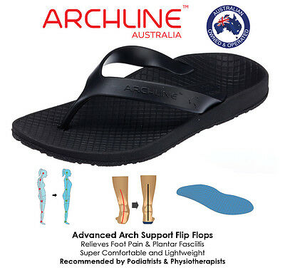 ARCHLINE™ Orthotic Arch Support Thongs (BLACK) - Optimal Comfort and Relief
