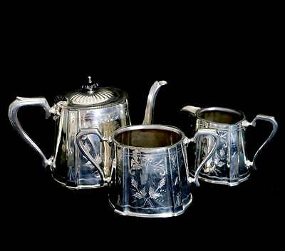 Antique Victorian EPNS Sheffield silver plated ornate teapot jug and bowl