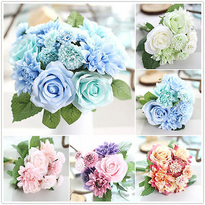 Artificial Rose Peony Silk Flowers Leaf Bouquet Home Floral Wedding Garden Decor