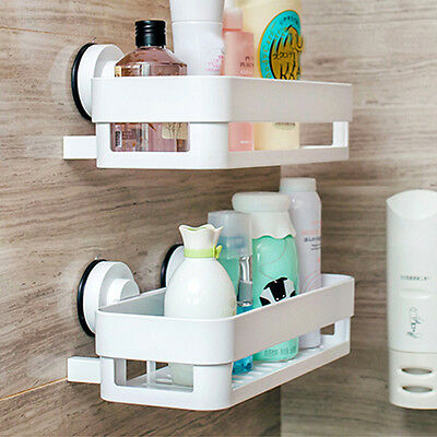 Home Kitchen Storage Holder Bathroom Shelf Rack Organizer Sucker Cup Wall Basket