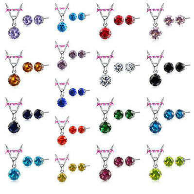 Silver CZ Crystal Pendant Necklace Stud Earring Women Jewelry Sets 16 Colors