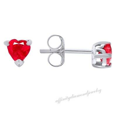 .50ct Heart Shape Created Ruby 925 Sterling Silver Child's Stud Earrings