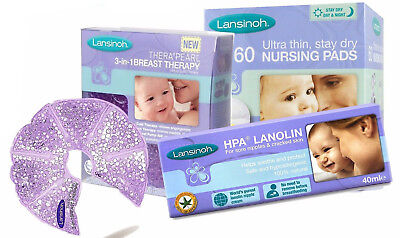 Lansinoh Breast Care (Hot/Cold Breast Therapy,HPA Lanolin Cream , Nursing Pads)