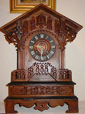 Large Black Forest cuckoo table clock Bahnhäusle about 1870