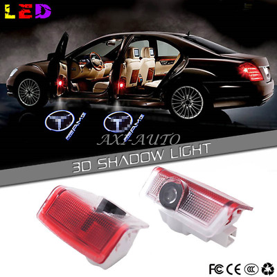 2x Door panel LED projector light For W205 W212 C E MERCEDES AMG LOGO