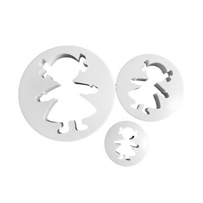 3pcs Girls Cookies Cutter Paste Mold Biscuit Baking Cake Topper Kitchen Tool