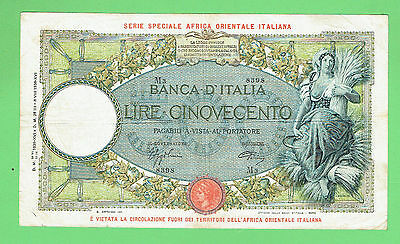 #d306.  1938  Italian  East  Africa Occupation   Banknote - 500 Lire