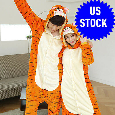 Hot Unisex Adult Pajamas Kigurumi Cosplay Costume Animal sleepwear  tigger