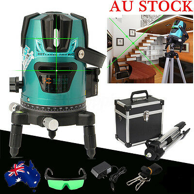 AU Green Slash 520nm Diagona Rotary Laser Line Leveling Level Meter Tripod Kit
