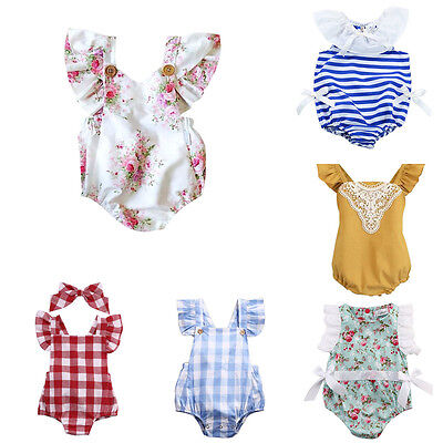 AU Toddler Baby Romper Jumpsuit Infant Newborn Girls Bodysuit Clothes Outfits