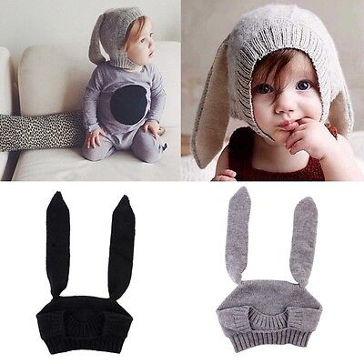 AU Toddler Kids Baby Winter Crochet Knitted Cute Rabbit Bunny Ears Hat Warm Cap
