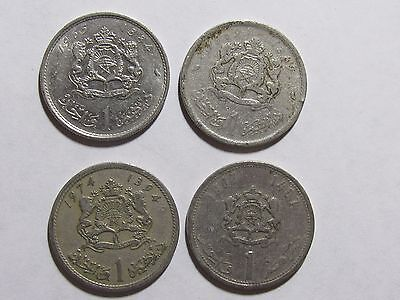 Lot of 4 Different Morocco Coins - 1965 to 1987 - Circulated