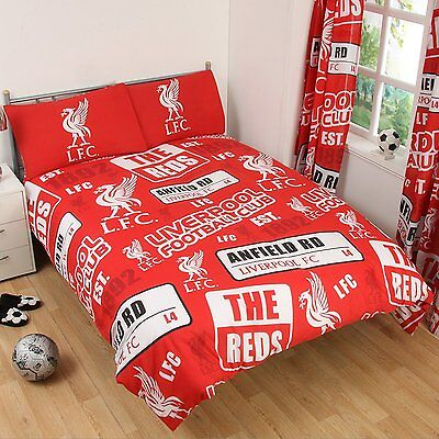 New Liverpool Football Club F.c. Double Duvet Quilt Cover Set Boys Kids Fans Bed