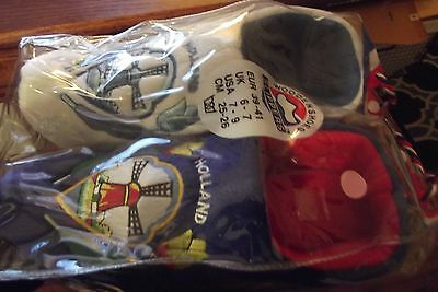 NEW adult Slippers Wooden Shoe BLUE-TULIP-DECOR Holland Sz USA 7-9